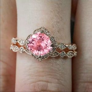 Rings Set Pink Crystal Rings Women Lover Wedding
